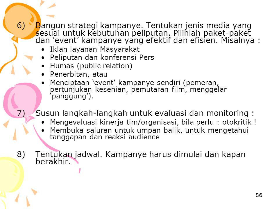 Susun langkah-langkah untuk evaluasi dan monitoring :