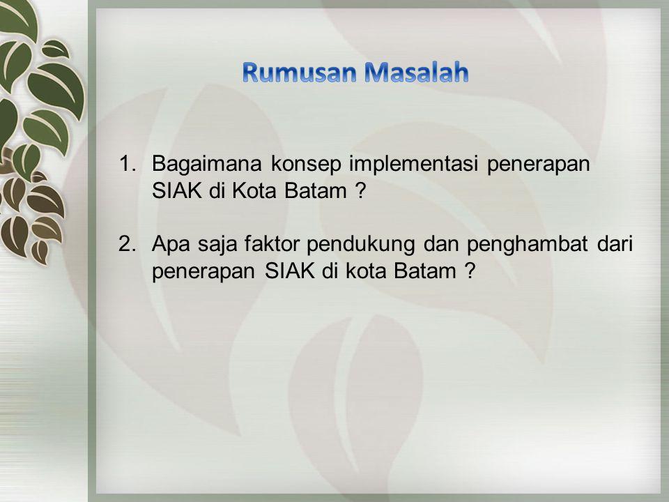 Rumusan Masalah Bagaimana konsep implementasi penerapan SIAK di Kota Batam