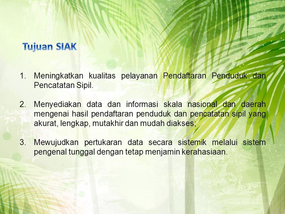 Tujuan SIAK Meningkatkan kualitas pelayanan Pendaftaran Penduduk dan Pencatatan Sipil.