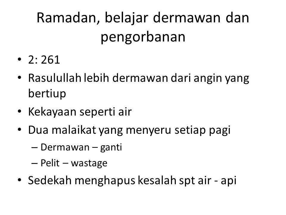 Ramadan, belajar dermawan dan pengorbanan