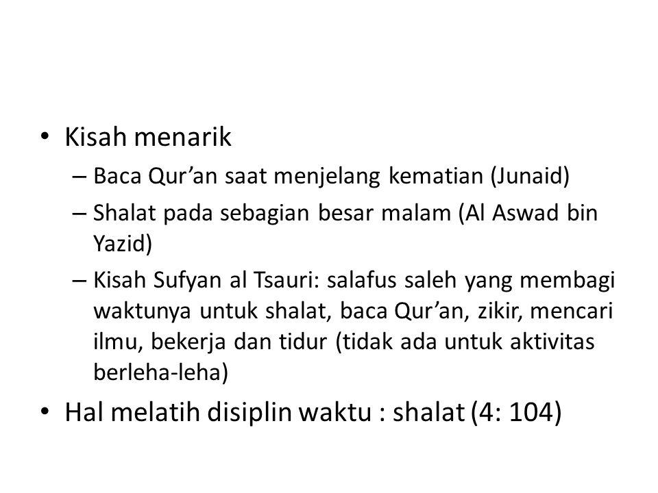 Hal melatih disiplin waktu : shalat (4: 104)