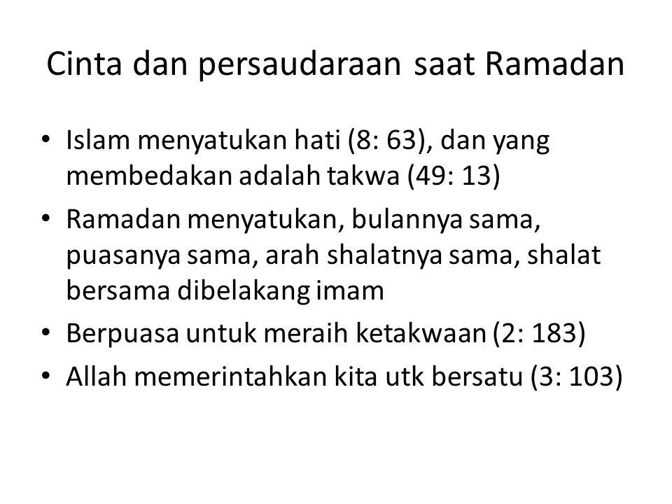 Cinta dan persaudaraan saat Ramadan