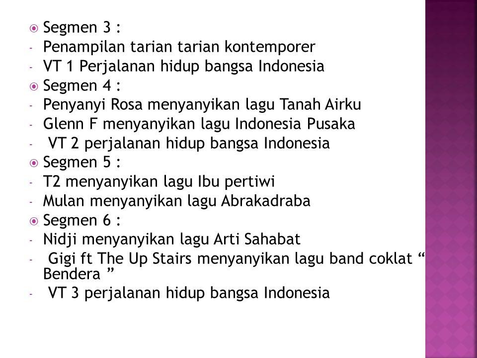Segmen 3 : Penampilan tarian tarian kontemporer. VT 1 Perjalanan hidup bangsa Indonesia. Segmen 4 :