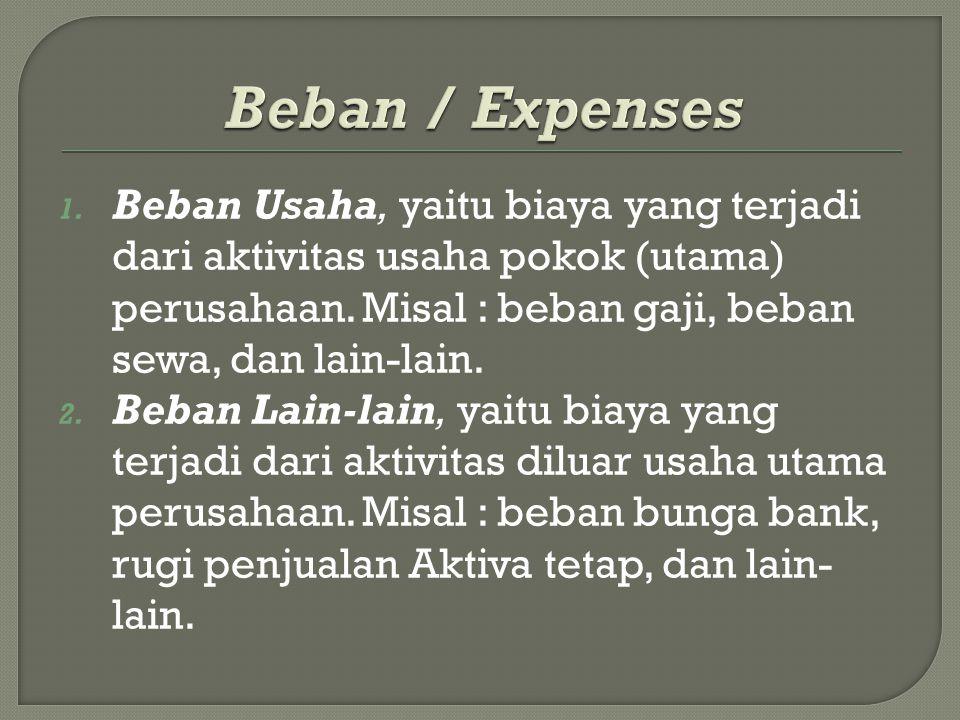 Beban / Expenses Beban Usaha, yaitu biaya yang terjadi dari aktivitas usaha pokok (utama) perusahaan. Misal : beban gaji, beban sewa, dan lain-lain.