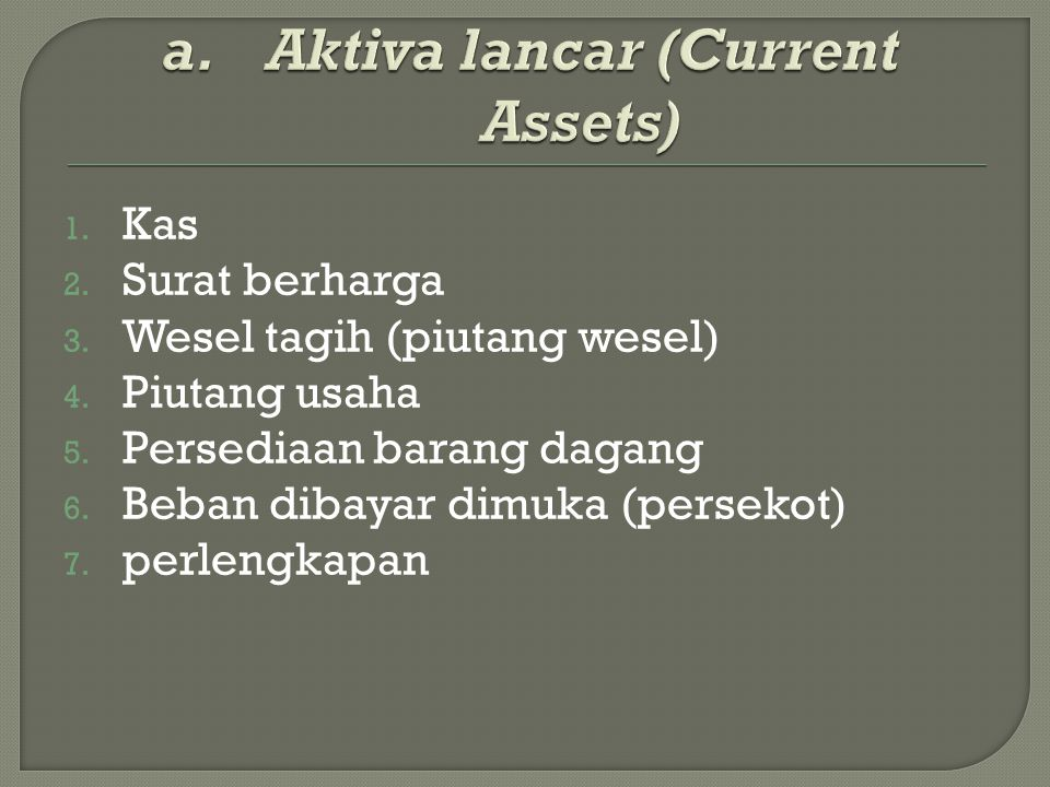Aktiva lancar (Current Assets)