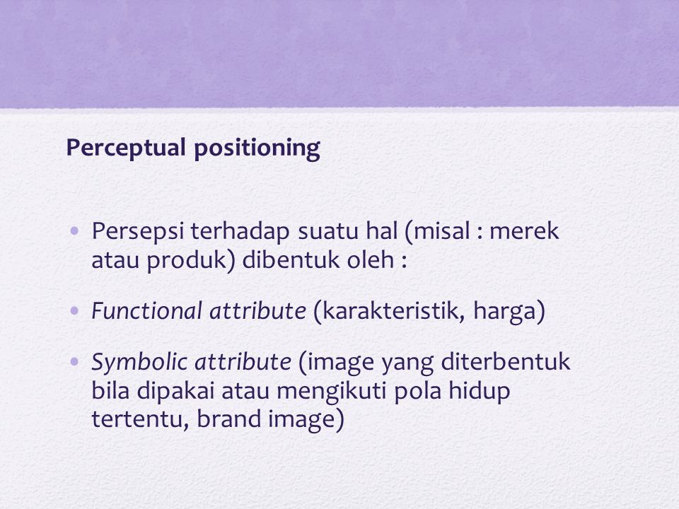 Perceptual positioning