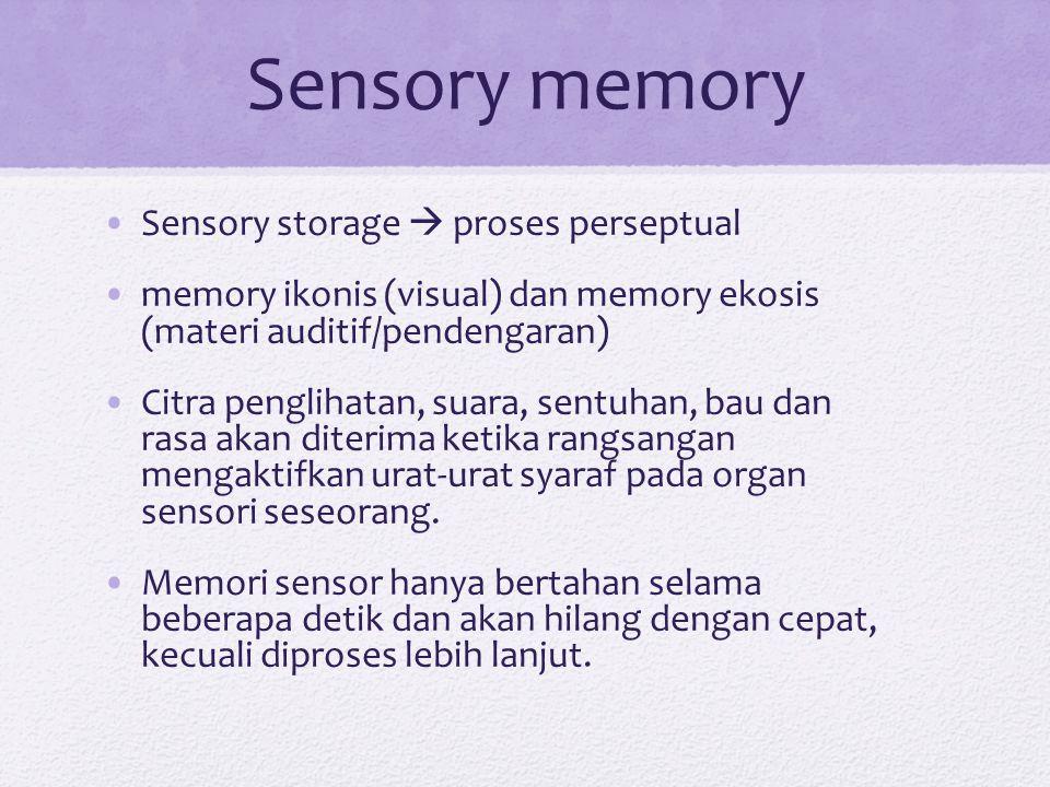 Sensory memory Sensory storage  proses perseptual