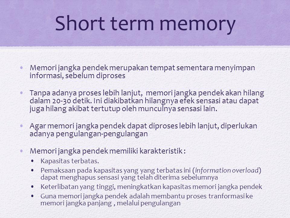 Short term memory Memori jangka pendek merupakan tempat sementara menyimpan informasi, sebelum diproses.