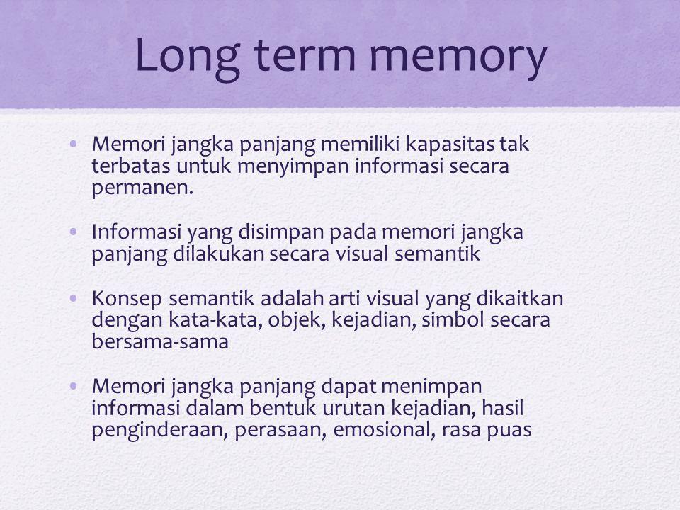 Long term memory Memori jangka panjang memiliki kapasitas tak terbatas untuk menyimpan informasi secara permanen.