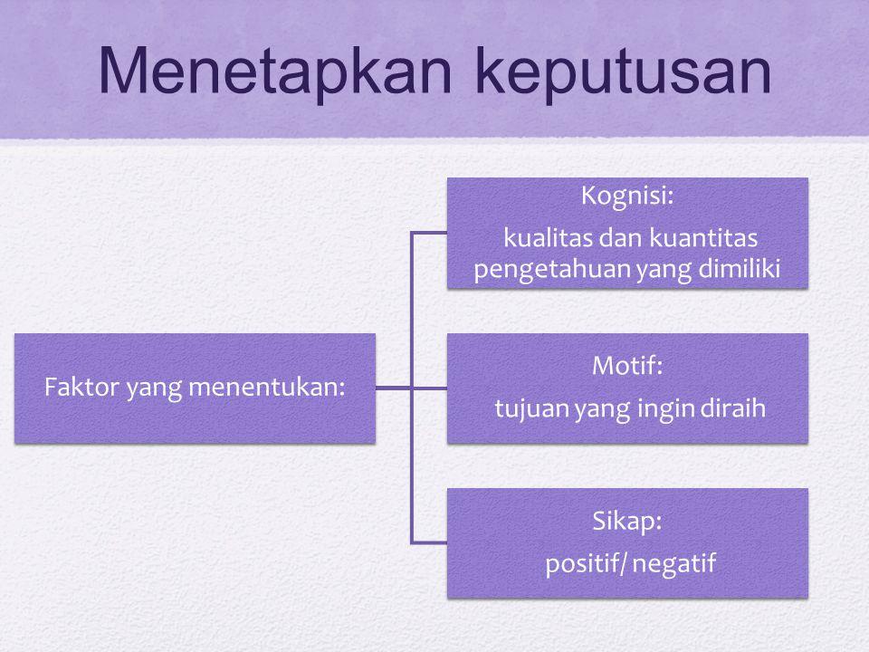 Menetapkan keputusan Kognisi: