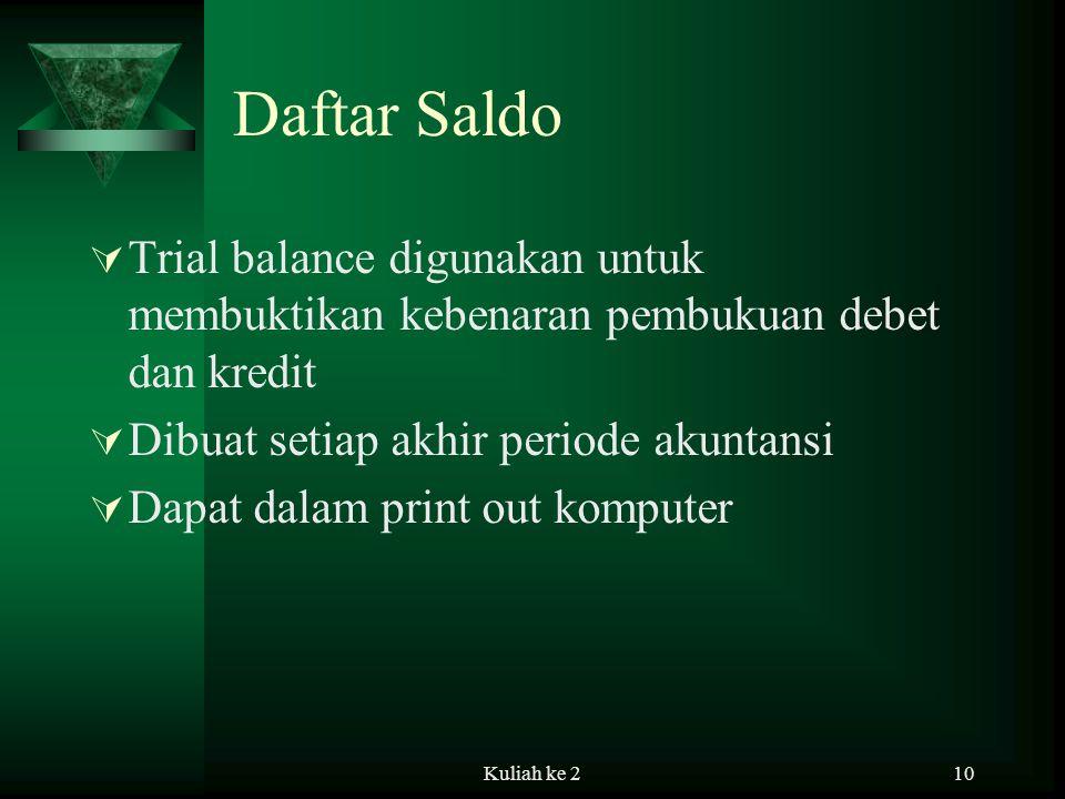 Daftar Saldo Trial balance digunakan untuk membuktikan kebenaran pembukuan debet dan kredit. Dibuat setiap akhir periode akuntansi.