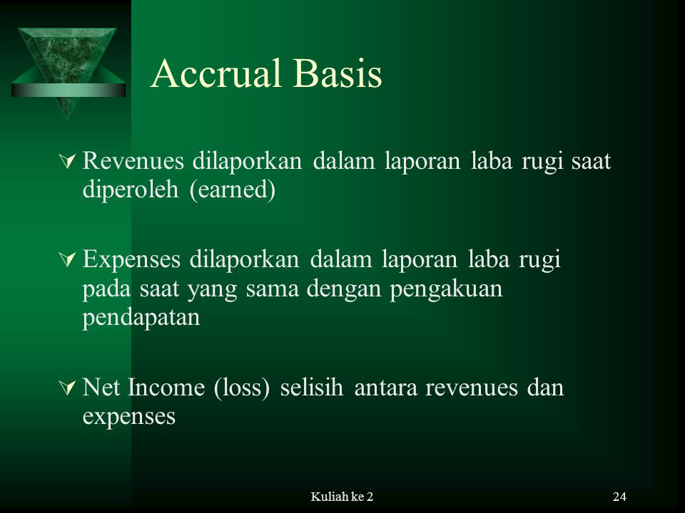 Accrual Basis Revenues dilaporkan dalam laporan laba rugi saat diperoleh (earned)