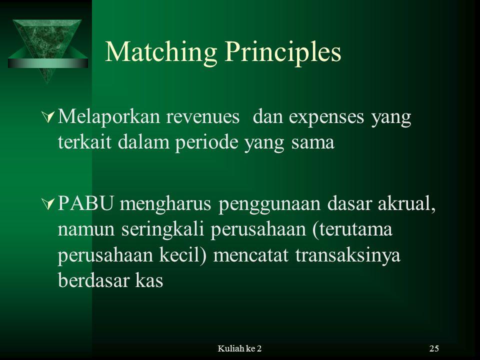 Matching Principles Melaporkan revenues dan expenses yang terkait dalam periode yang sama.