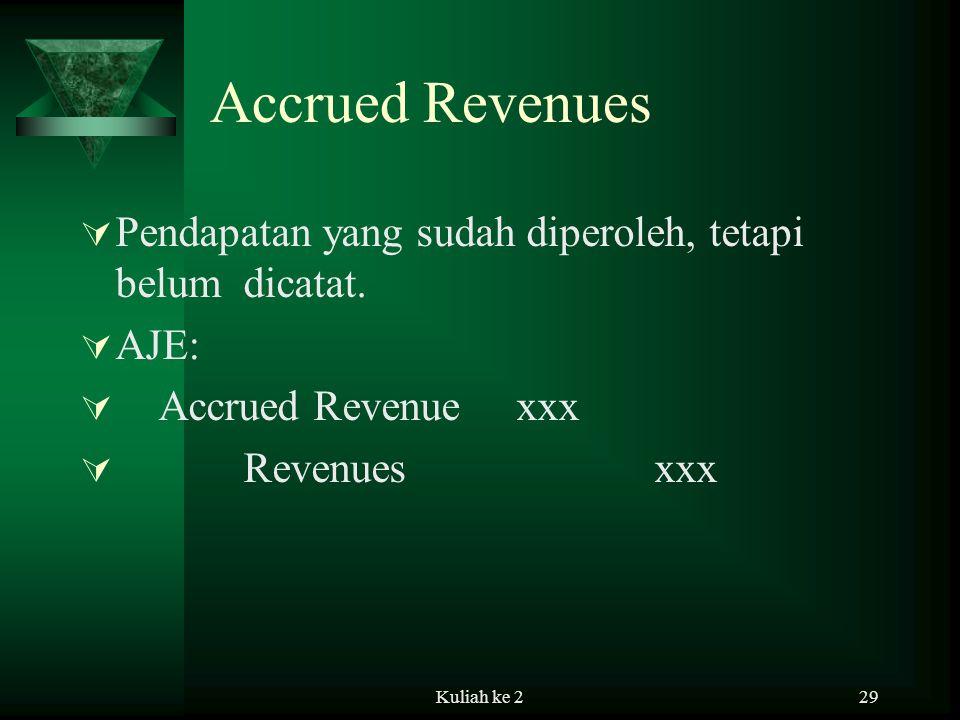 Accrued Revenues Pendapatan yang sudah diperoleh, tetapi belum dicatat. AJE: Accrued Revenue xxx.