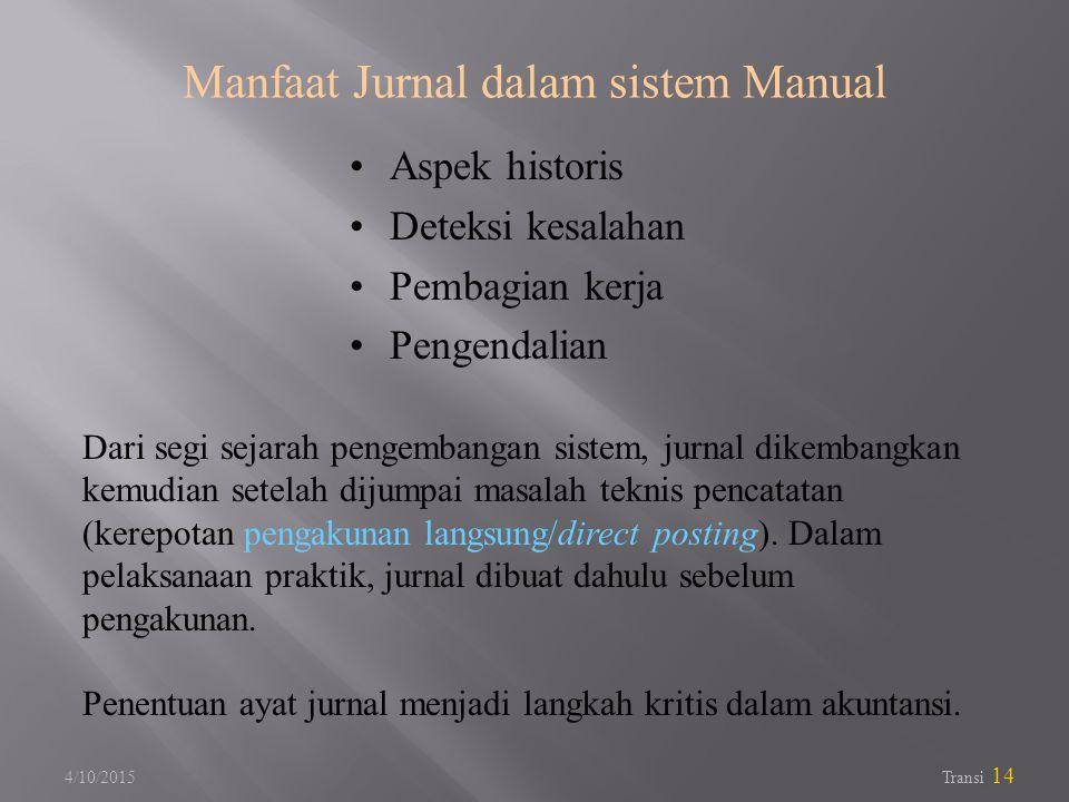 Manfaat Jurnal dalam sistem Manual