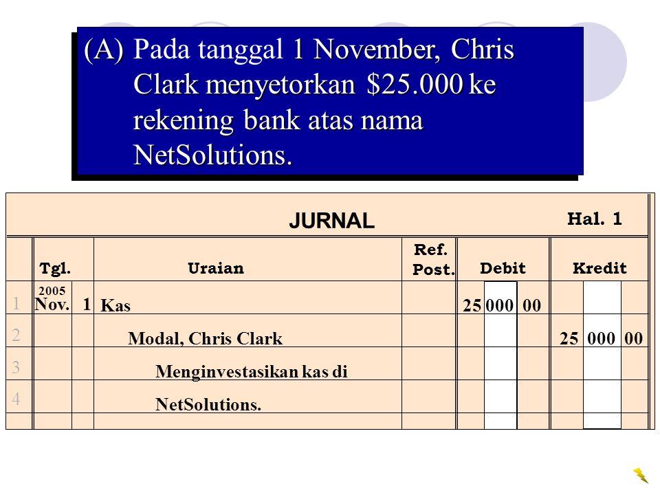 (A). Pada tanggal 1 November, Chris Clark menyetorkan $25