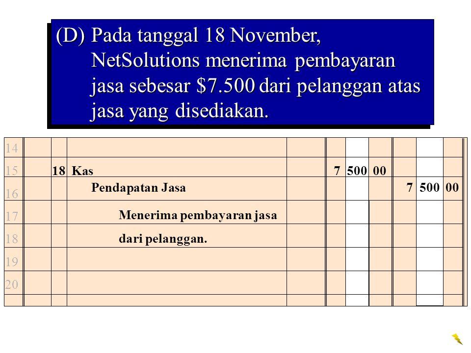 (D) Pada tanggal 18 November, NetSolutions menerima pembayaran jasa sebesar $7.500 dari pelanggan atas jasa yang disediakan.