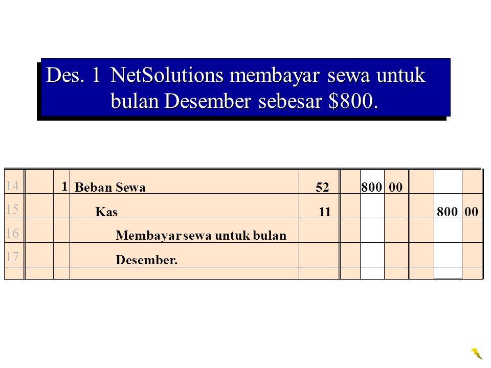 Des. 1 NetSolutions membayar sewa untuk bulan Desember sebesar $800.