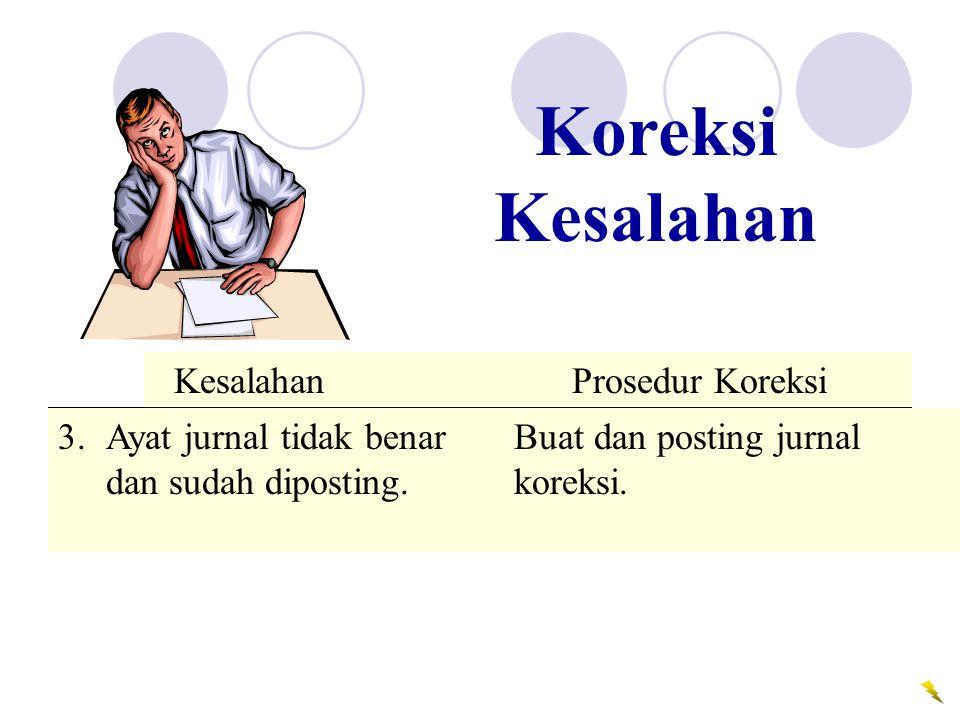Koreksi Kesalahan Ayat jurnal tidak benar Buat dan posting jurnal