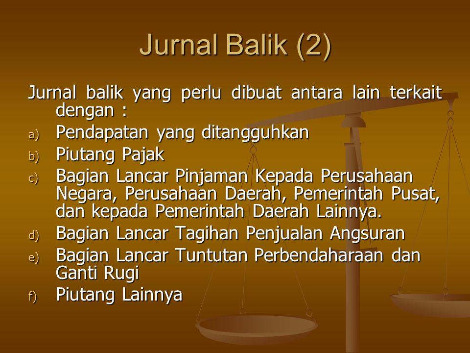 Jurnal Balik (2) Jurnal balik yang perlu dibuat antara lain terkait dengan : Pendapatan yang ditangguhkan.