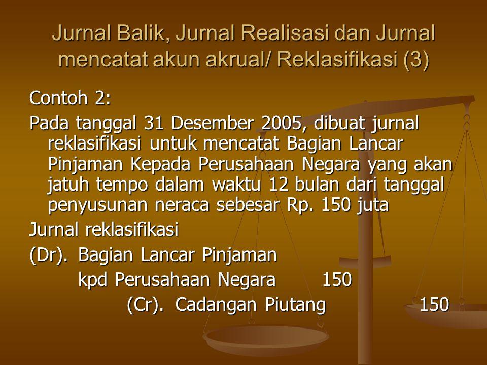 Jurnal Balik, Jurnal Realisasi dan Jurnal mencatat akun akrual/ Reklasifikasi (3)