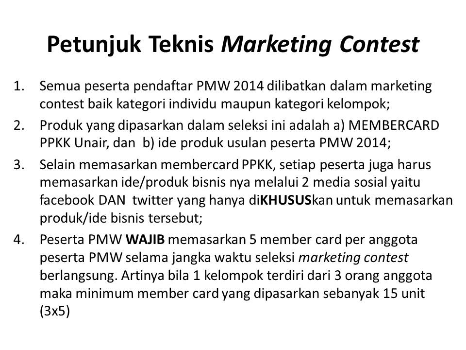 Petunjuk Teknis Marketing Contest