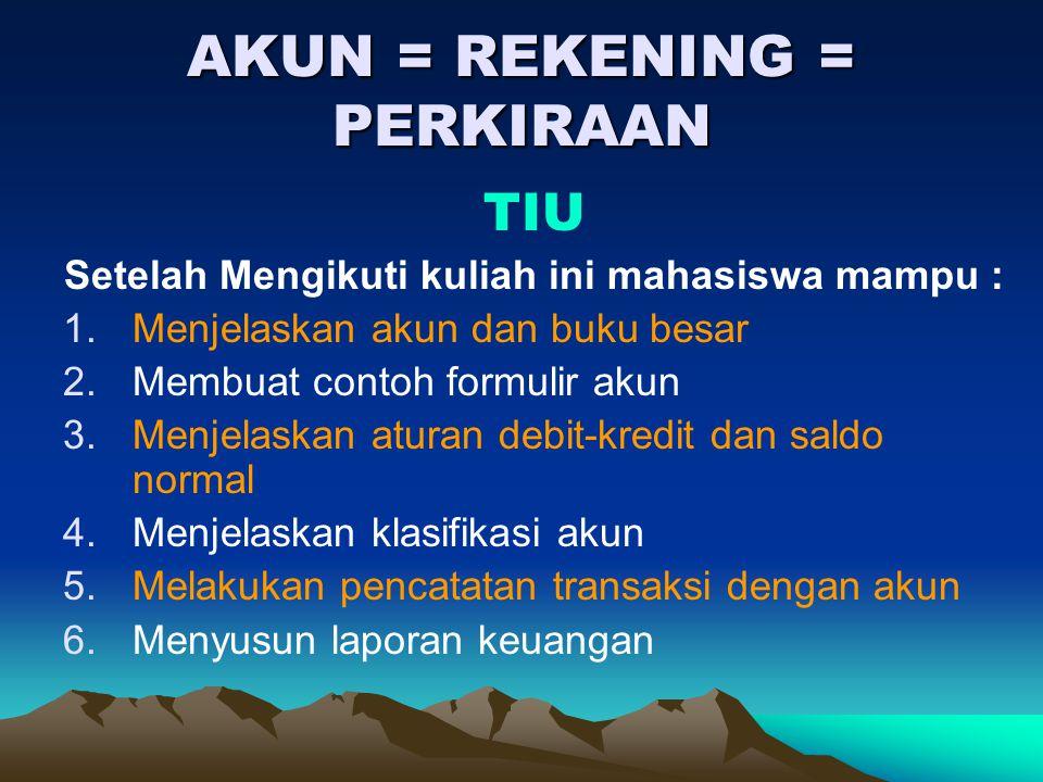 AKUN = REKENING = PERKIRAAN
