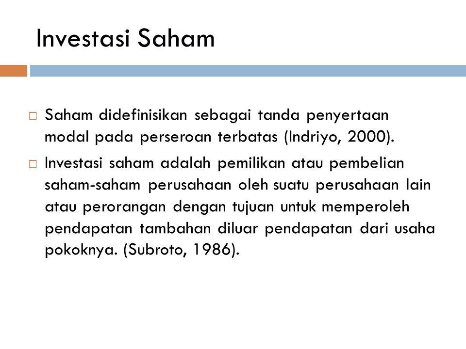 Investasi Saham Saham didefinisikan sebagai tanda penyertaan modal pada perseroan terbatas (Indriyo, 2000).