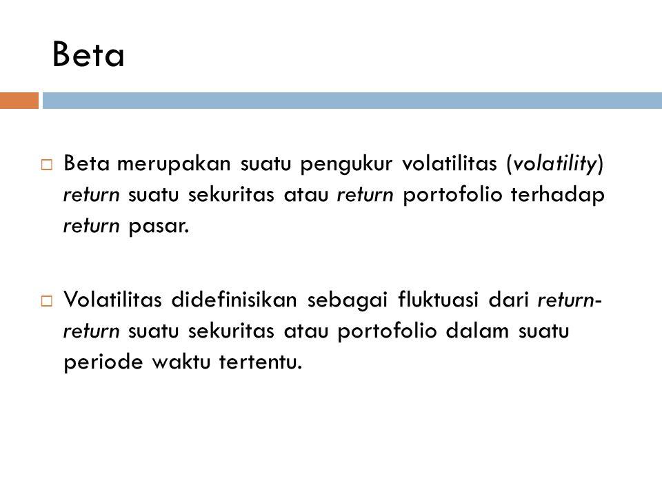 Beta Beta merupakan suatu pengukur volatilitas (volatility) return suatu sekuritas atau return portofolio terhadap return pasar.