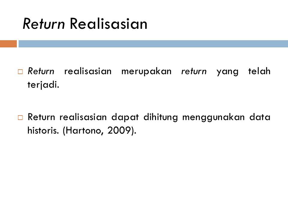 Return Realisasian Return realisasian merupakan return yang telah terjadi.