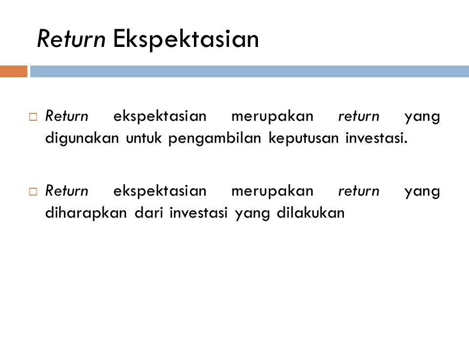 Return Ekspektasian Return ekspektasian merupakan return yang digunakan untuk pengambilan keputusan investasi.
