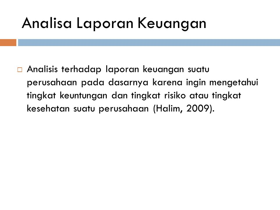Analisa Laporan Keuangan