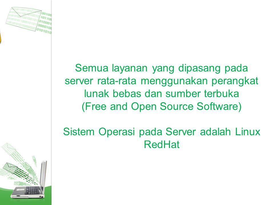 Perangkat Lunak Semua layanan yang dipasang pada server rata-rata menggunakan perangkat lunak bebas dan sumber terbuka.