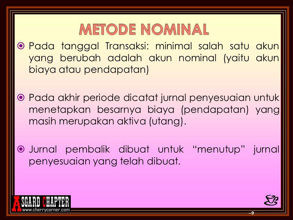 METODE NOMINAL Pada tanggal Transaksi: minimal salah satu akun yang berubah adalah akun nominal (yaitu akun biaya atau pendapatan)