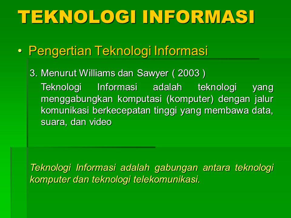 TEKNOLOGI INFORMASI Pengertian Teknologi Informasi