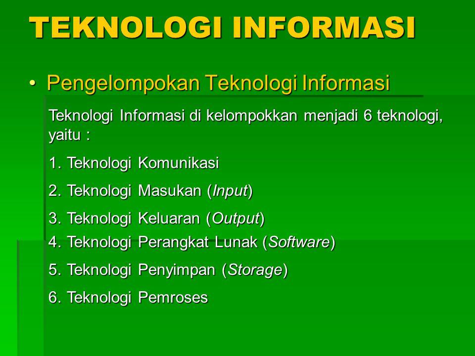 TEKNOLOGI INFORMASI Pengelompokan Teknologi Informasi