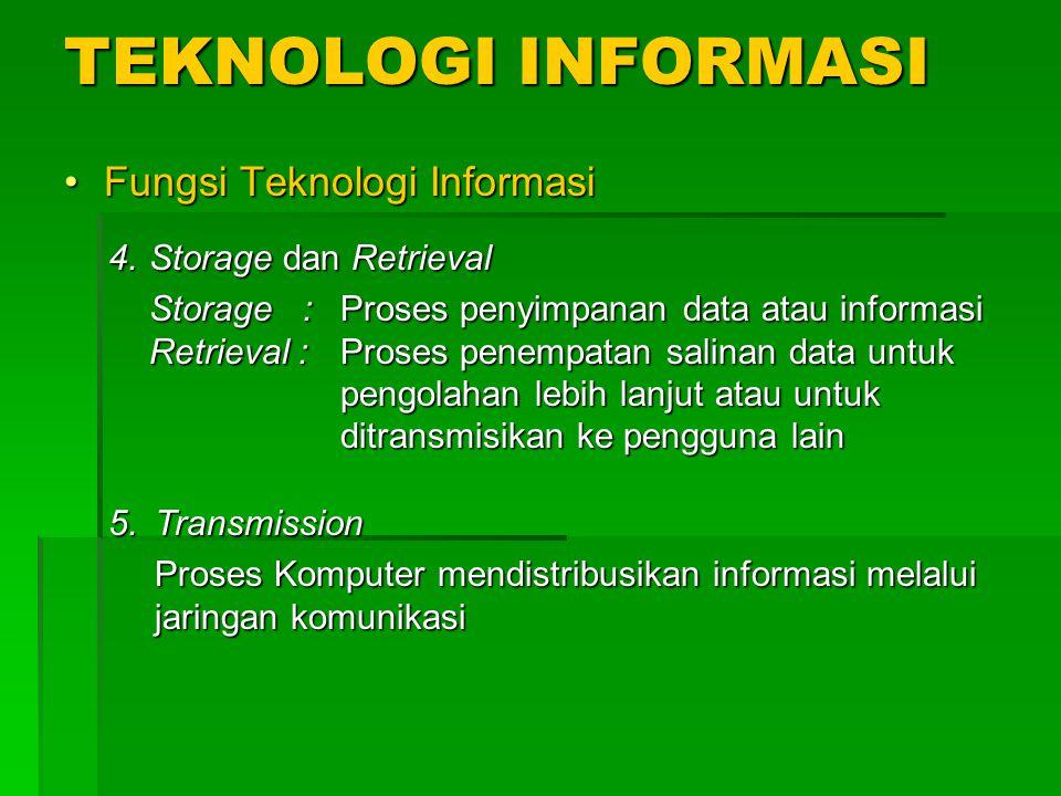 TEKNOLOGI INFORMASI Fungsi Teknologi Informasi Storage dan Retrieval