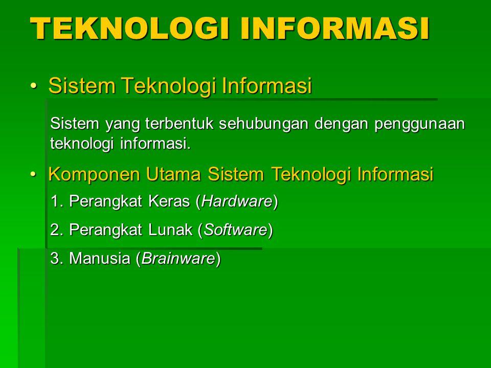 TEKNOLOGI INFORMASI Sistem Teknologi Informasi