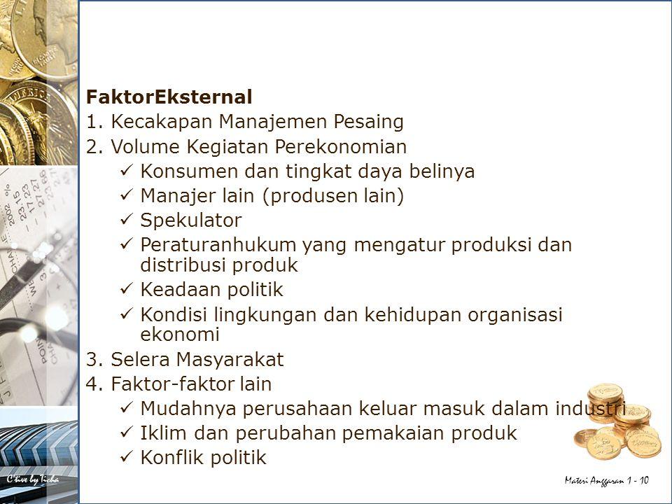 FaktorEksternal 1. Kecakapan Manajemen Pesaing. 2. Volume Kegiatan Perekonomian. Konsumen dan tingkat daya belinya.
