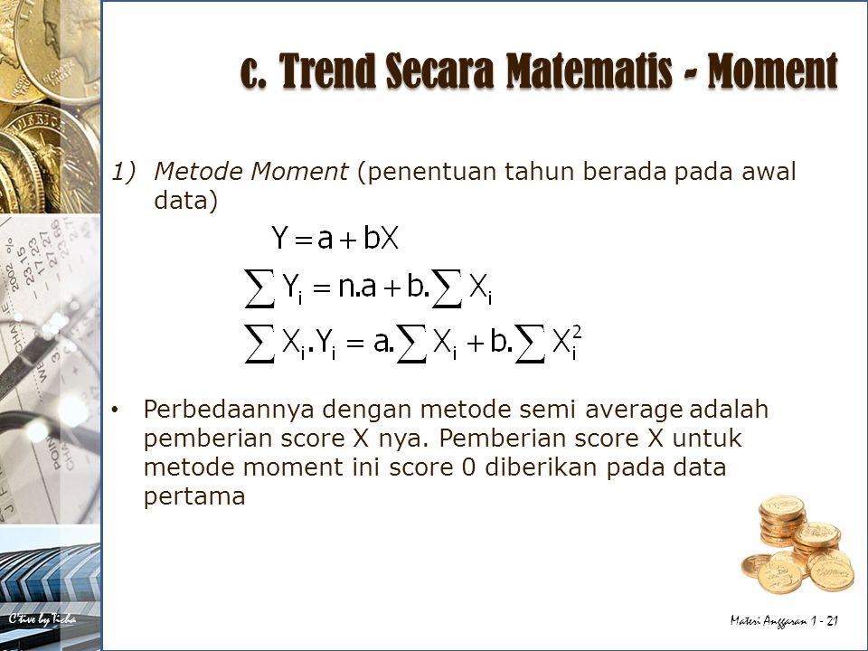 c. Trend Secara Matematis - Moment
