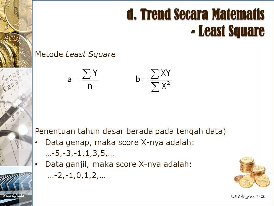 d. Trend Secara Matematis - Least Square