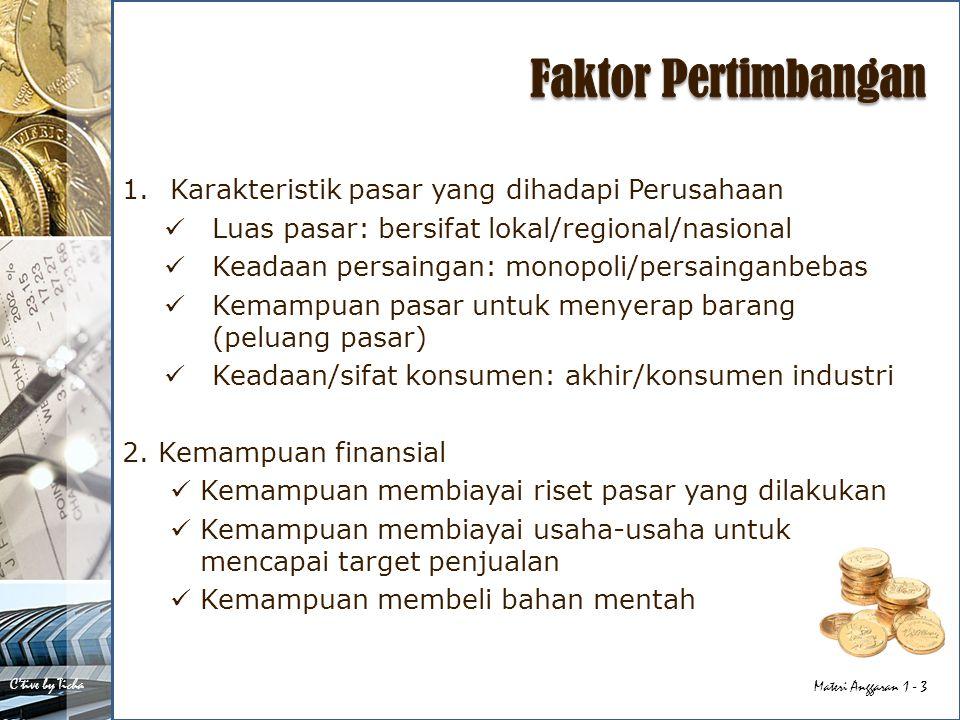 Faktor Pertimbangan Karakteristik pasar yang dihadapi Perusahaan