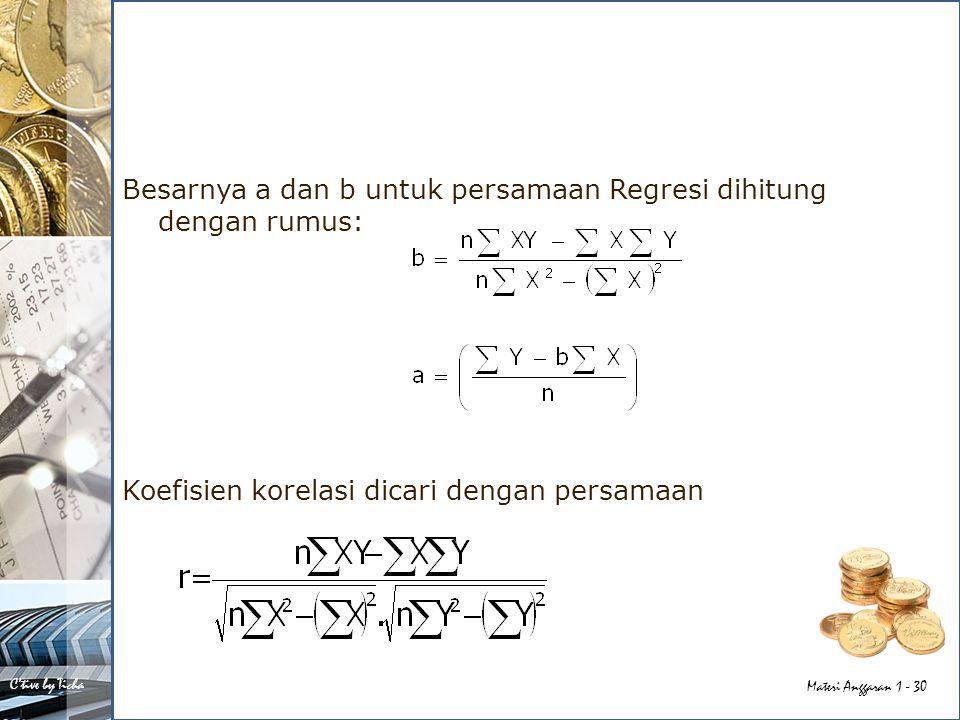 Besarnya a dan b untuk persamaan Regresi dihitung dengan rumus: