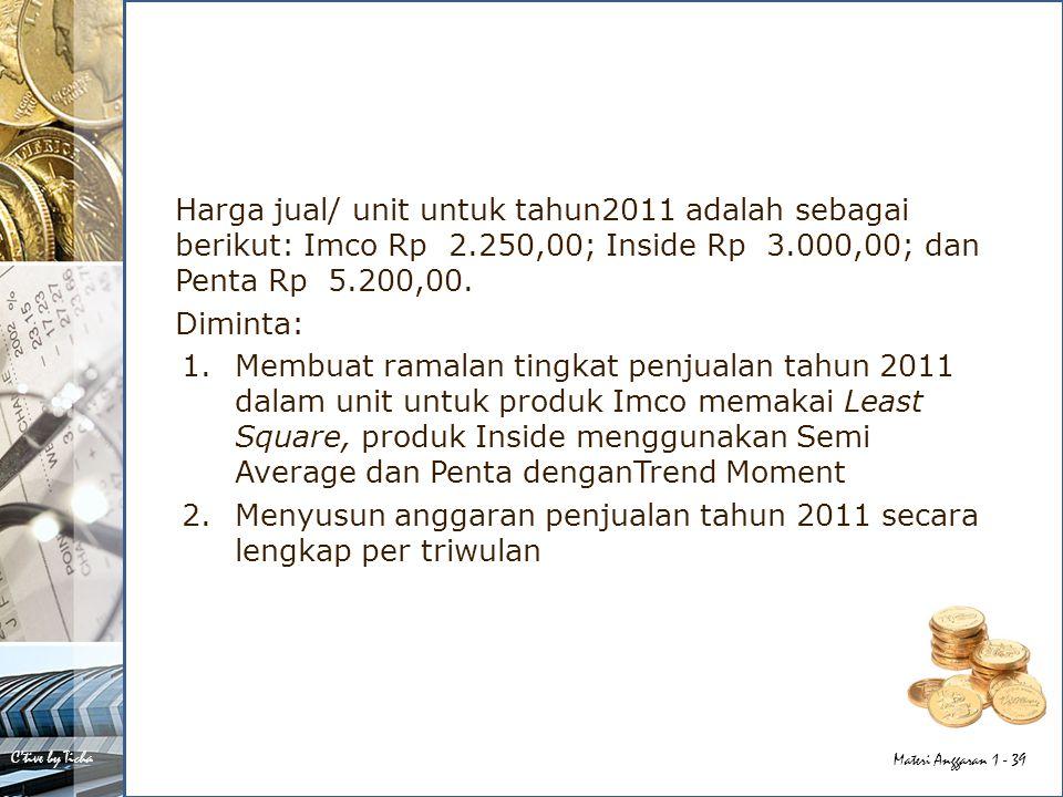 Harga jual/ unit untuk tahun2011 adalah sebagai berikut: Imco Rp 2