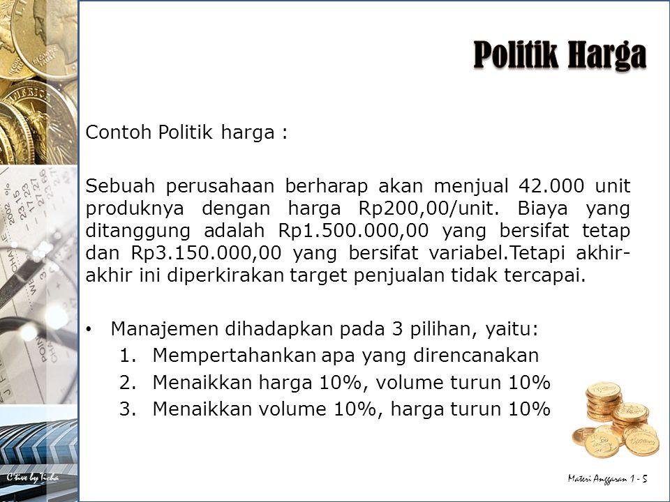Politik Harga Contoh Politik harga :