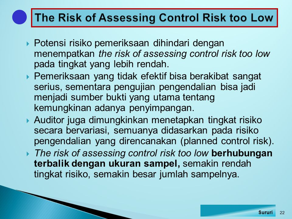 The Risk of Assessing Control Risk too Low