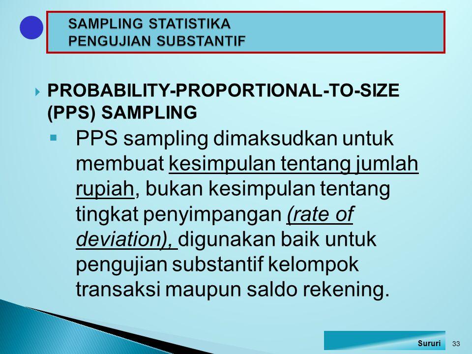 SAMPLING STATISTIKA PENGUJIAN SUBSTANTIF