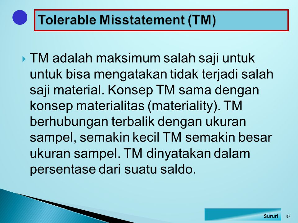 determination of planning materiality and tolerable misstatement