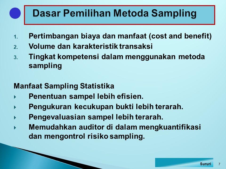 Dasar Pemilihan Metoda Sampling