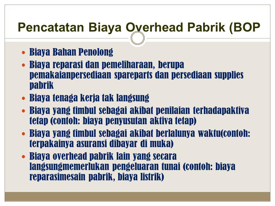 Pencatatan Biaya Overhead Pabrik (BOP